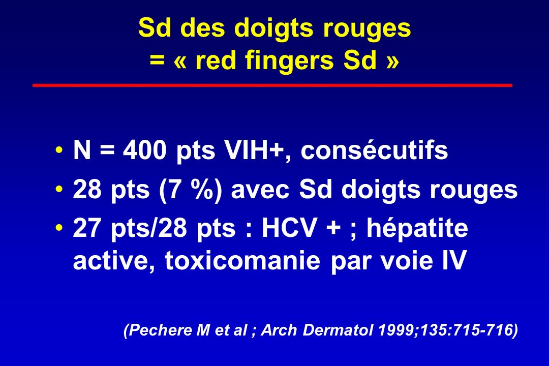 Sd des doigts rouges = « red fingers Sd »