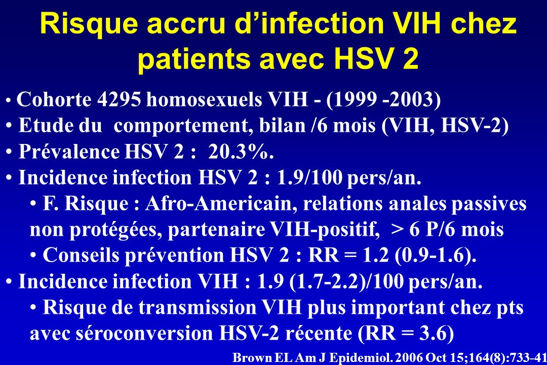 Risque accru d'infection VIH chez patients avec HSV 2