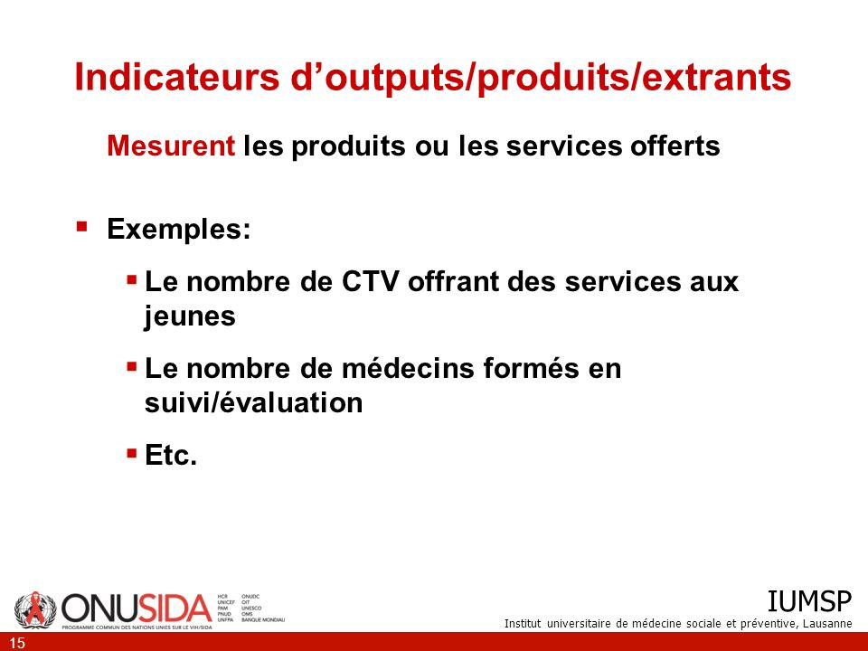 Indicateurs d'outputs/produits/extrants