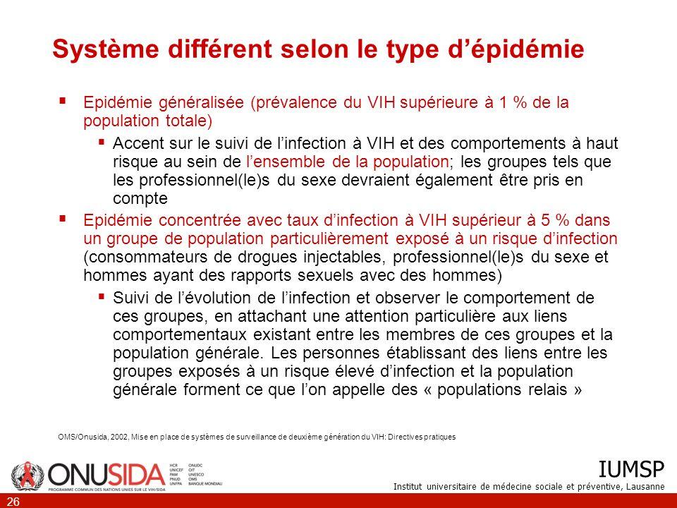 Système différent selon le type d'épidémie