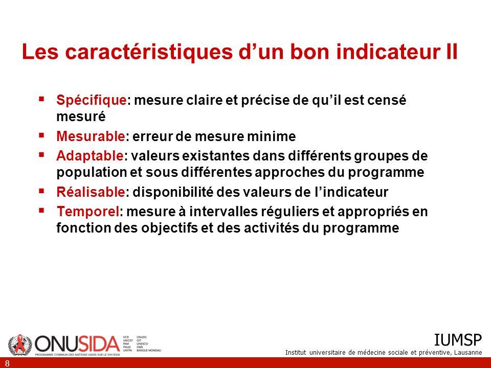 Les caractéristiques d'un bon indicateur II