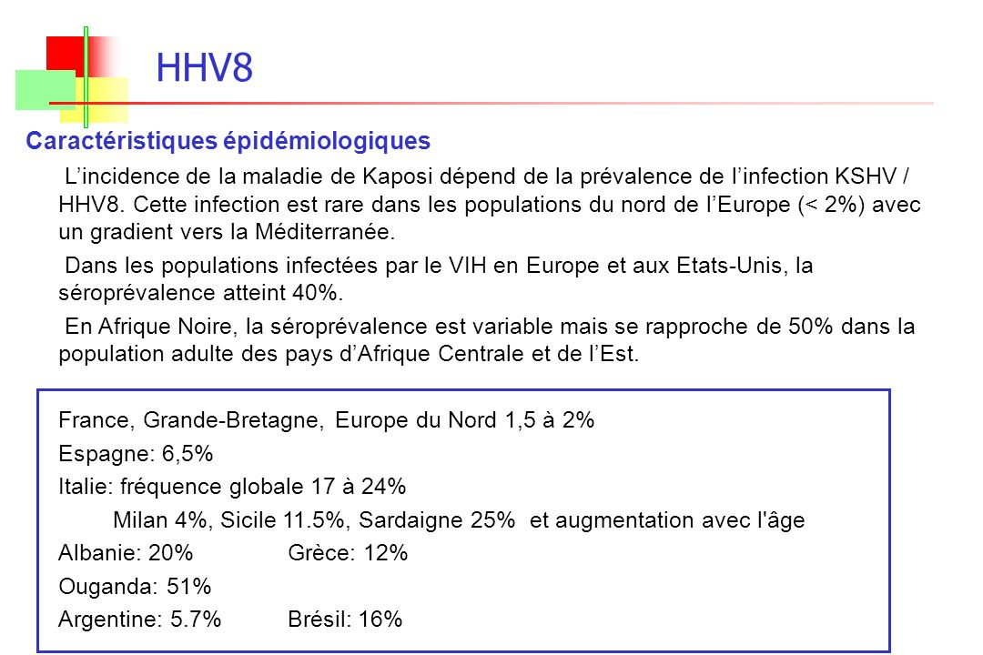 HHV8 Caractéristiques épidémiologiques