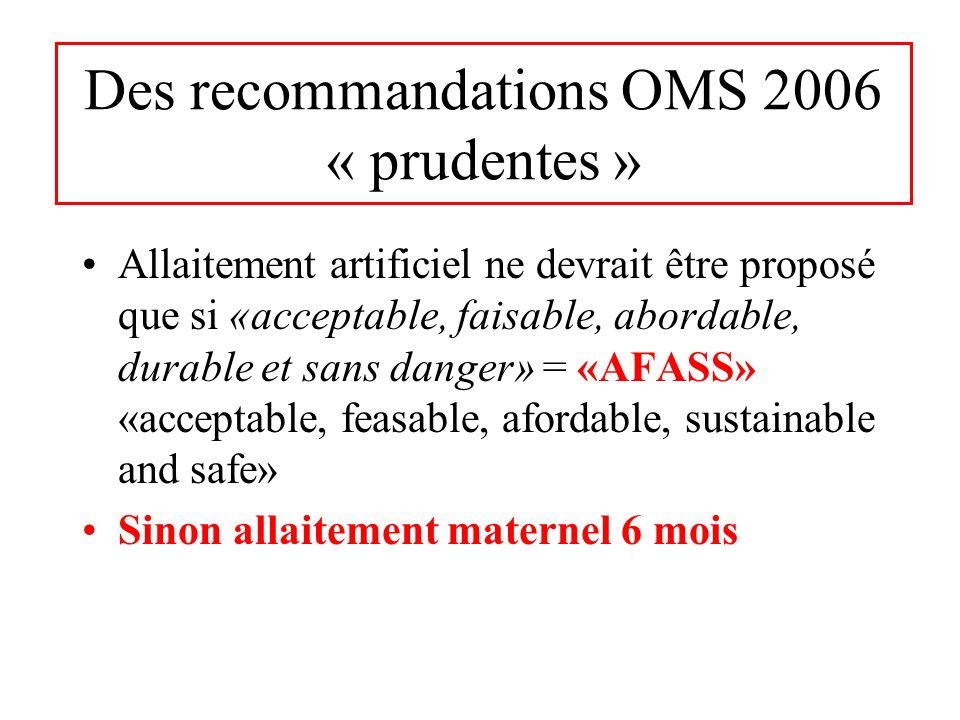 Des recommandations OMS 2006 « prudentes »