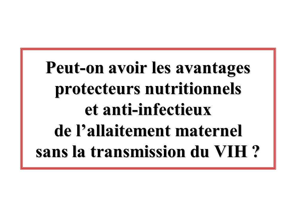 Peut-on avoir les avantages protecteurs nutritionnels et anti-infectieux de l'allaitement maternel sans la transmission du VIH