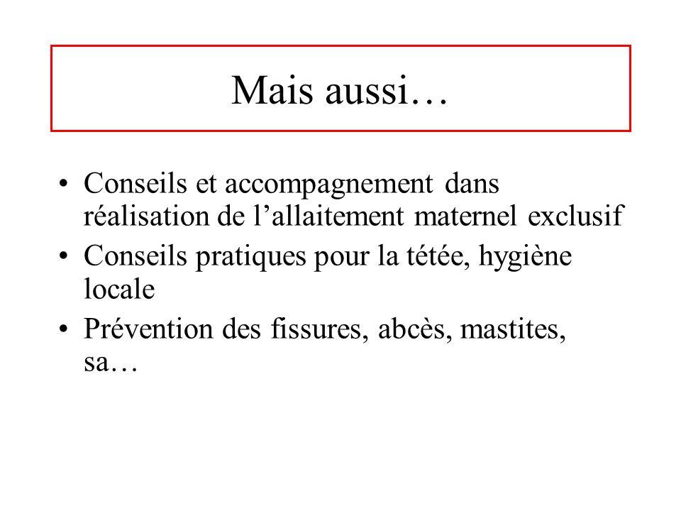 Mais aussi… Conseils et accompagnement dans réalisation de l'allaitement maternel exclusif. Conseils pratiques pour la tétée, hygiène locale.
