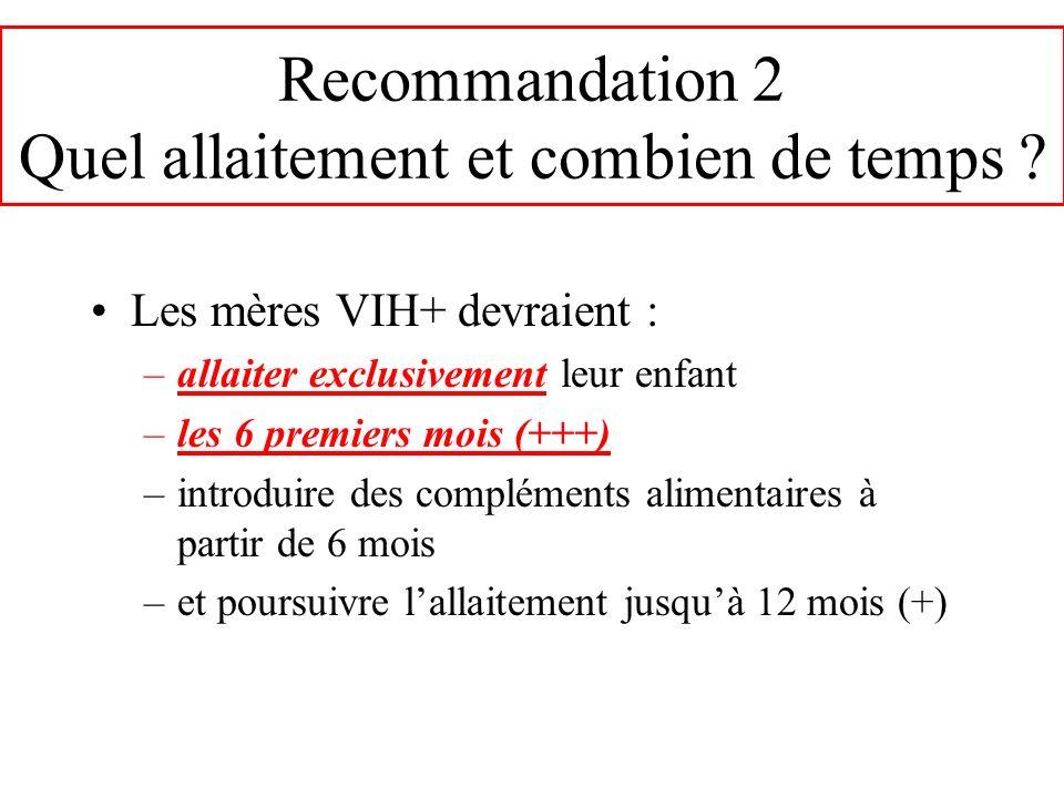 Recommandation 2 Quel allaitement et combien de temps
