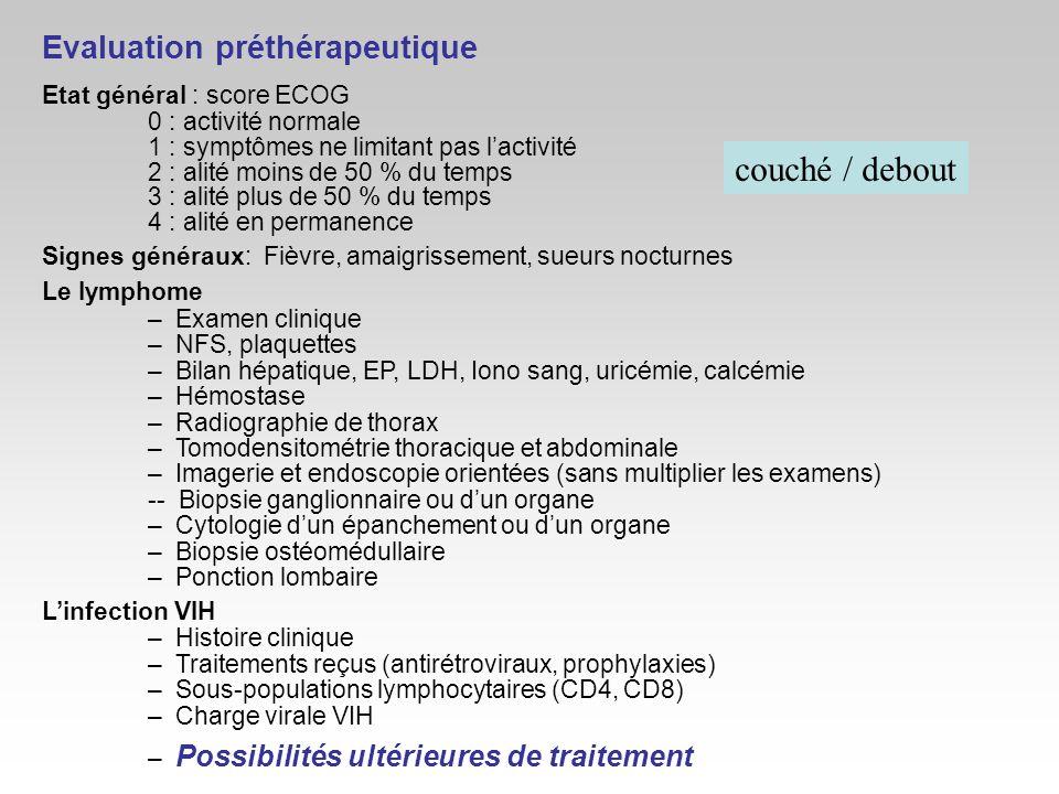 couché / debout Evaluation préthérapeutique Etat général : score ECOG