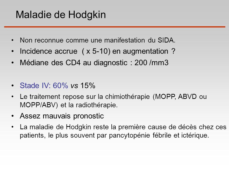 Maladie de Hodgkin Incidence accrue ( x 5-10) en augmentation