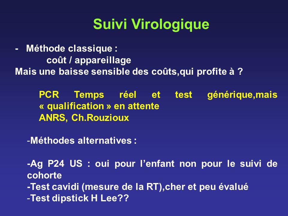 Suivi Virologique - Méthode classique : coût / appareillage