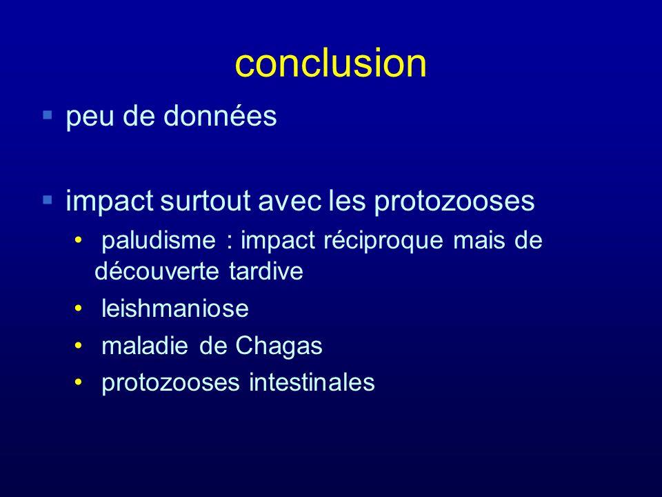 conclusion peu de données impact surtout avec les protozooses