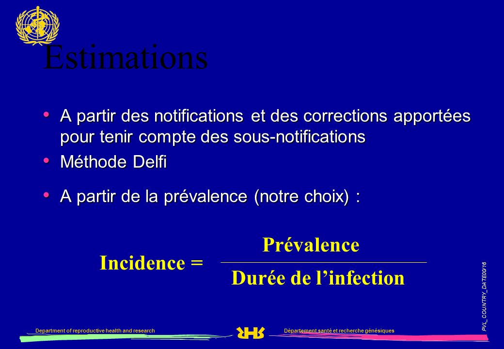 Estimations Prévalence Incidence = Durée de l'infection