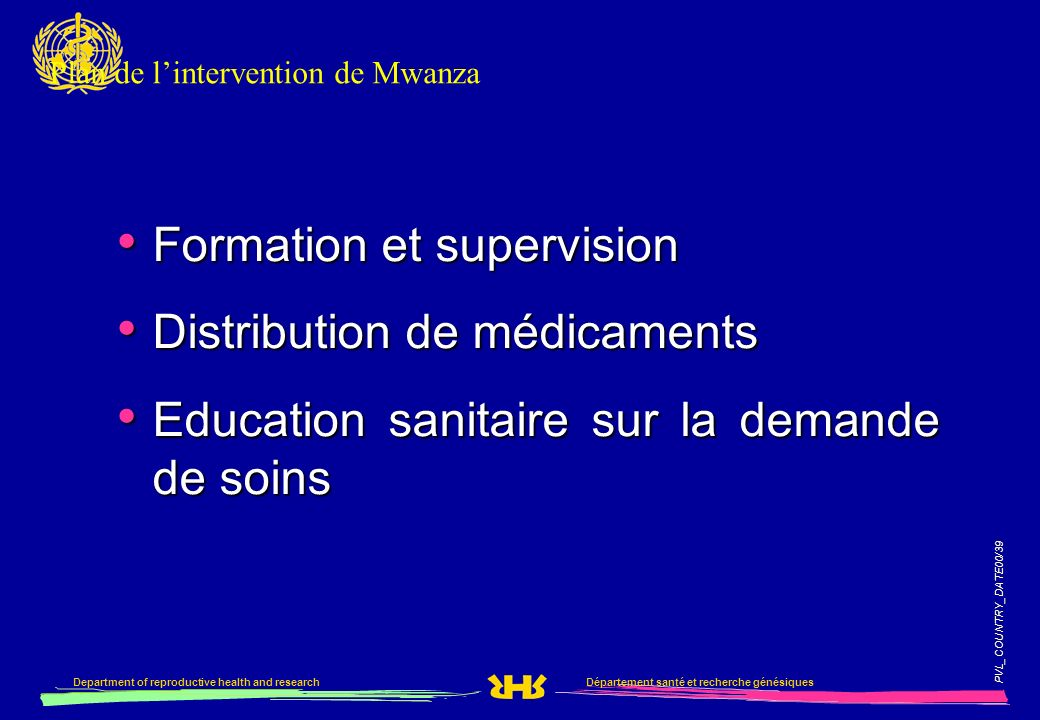 Plan de l'intervention de Mwanza