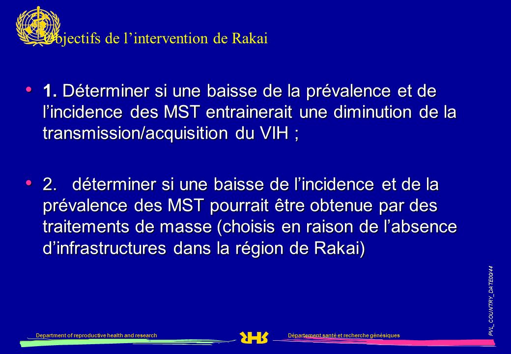 Objectifs de l'intervention de Rakai
