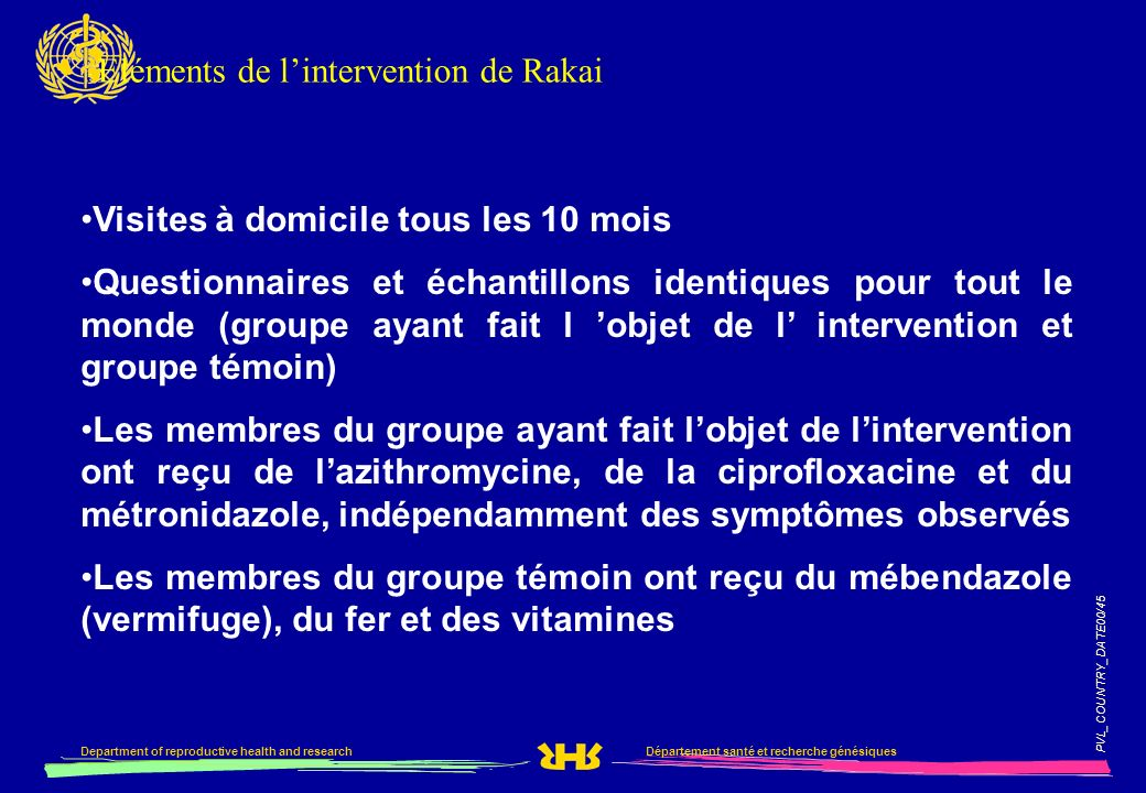 Eléments de l'intervention de Rakai