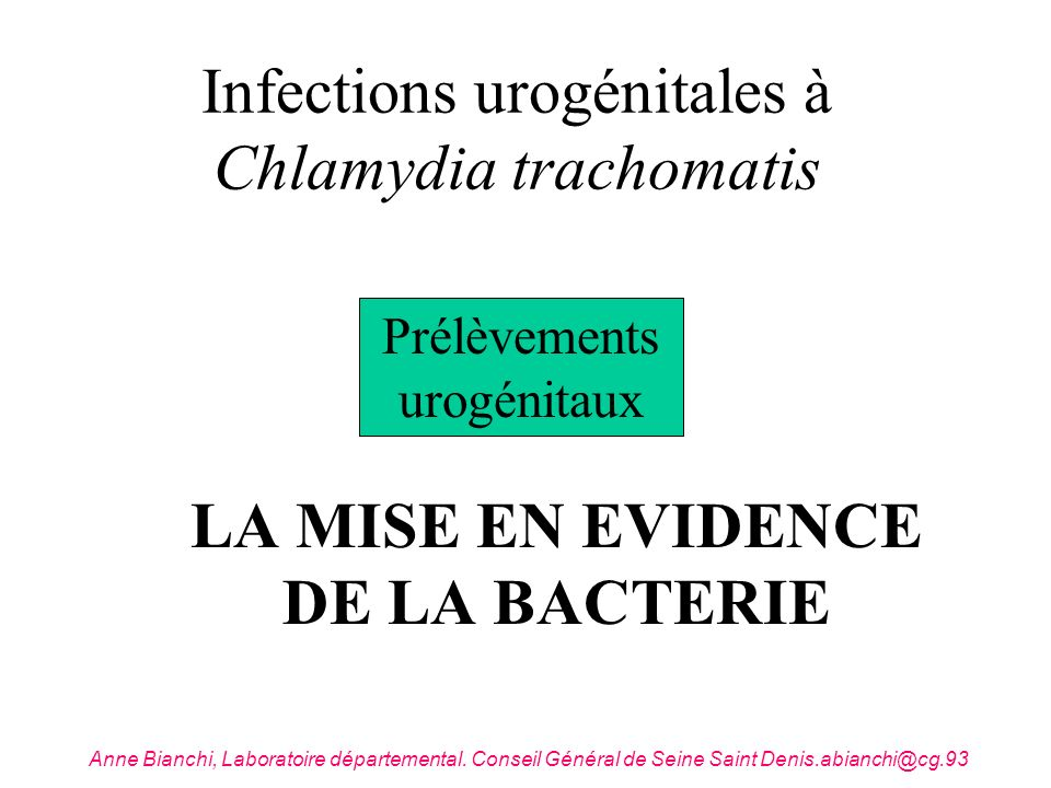 Infections urogénitales à Chlamydia trachomatis