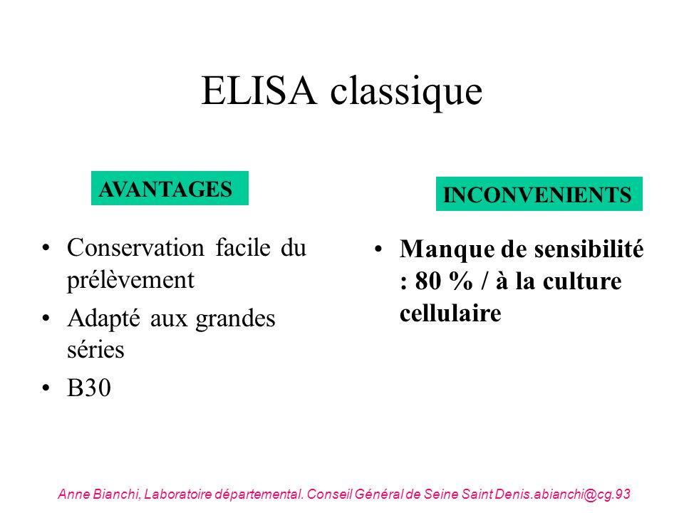 ELISA classique Conservation facile du prélèvement