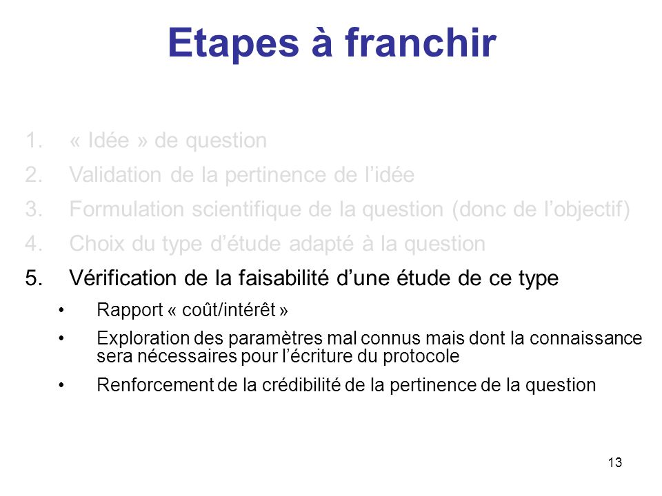 Etapes à franchir « Idée » de question