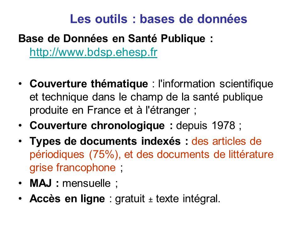 Les outils : bases de données