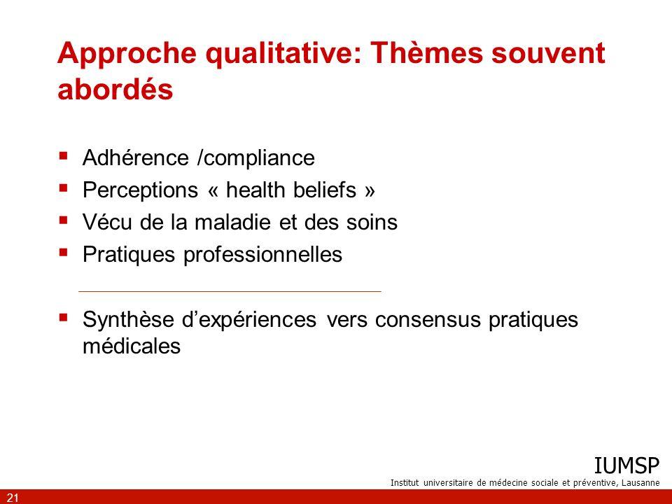 Approche qualitative: Thèmes souvent abordés