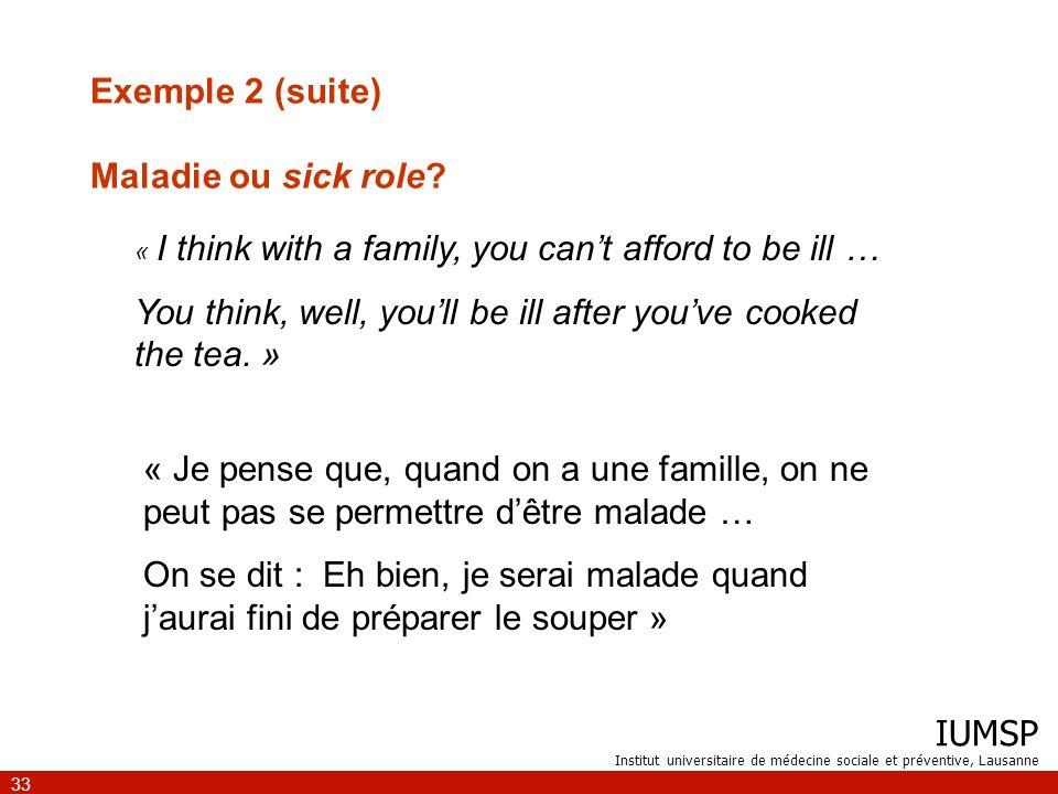 Exemple 2 (suite) Maladie ou sick role