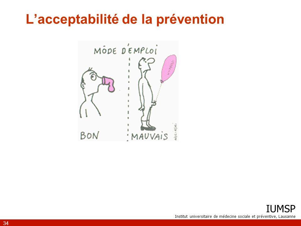 L'acceptabilité de la prévention