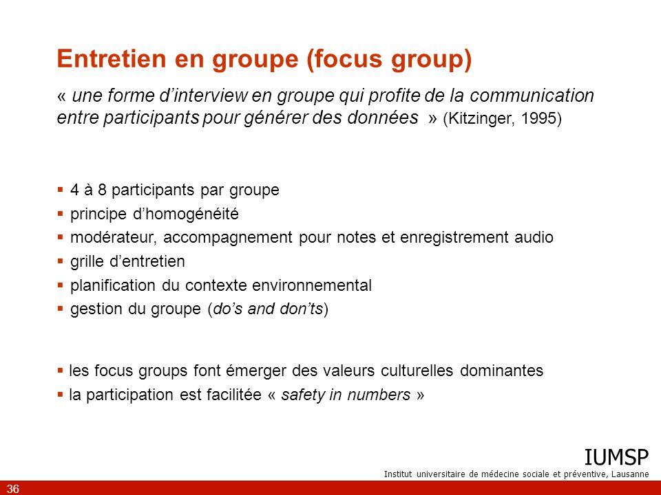 Entretien en groupe (focus group)