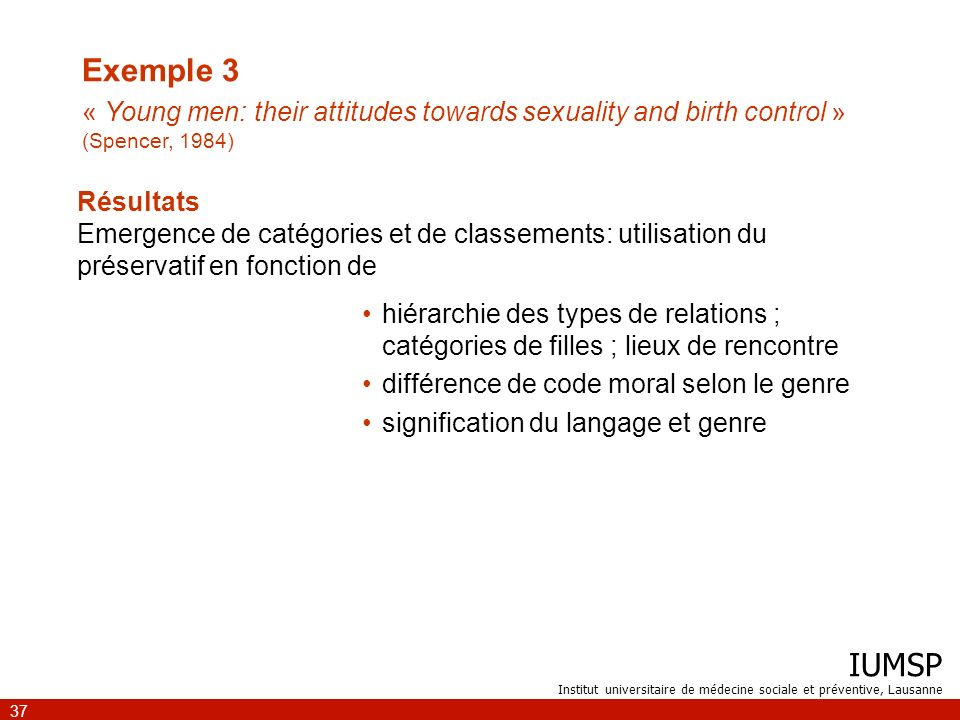 Exemple 3 « Young men: their attitudes towards sexuality and birth control » (Spencer, 1984)