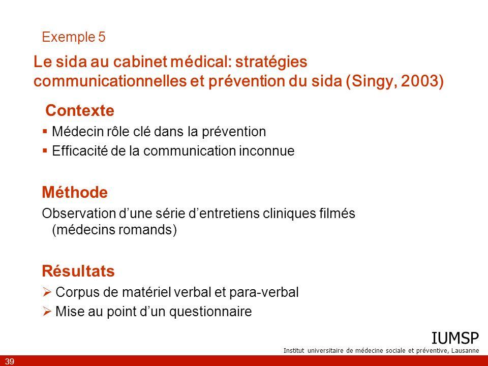 Exemple 5 Le sida au cabinet médical: stratégies communicationnelles et prévention du sida (Singy, 2003)