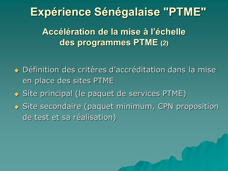 Accélération de la mise à l'échelle des programmes PTME (2)
