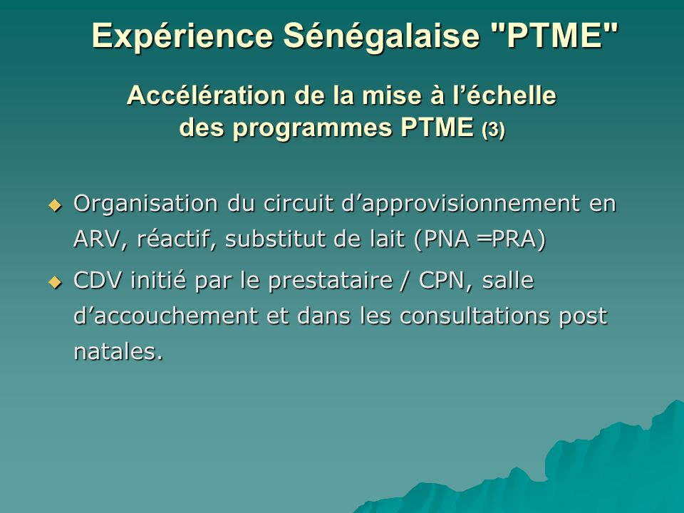 Accélération de la mise à l'échelle des programmes PTME (3)
