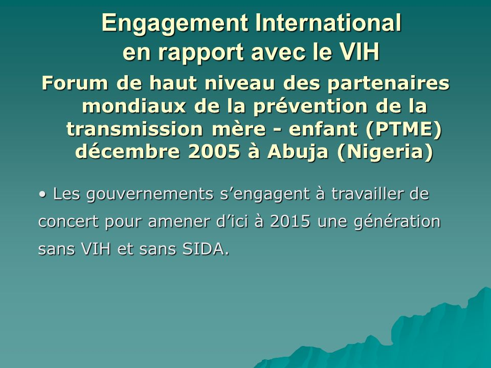 Engagement International en rapport avec le VIH