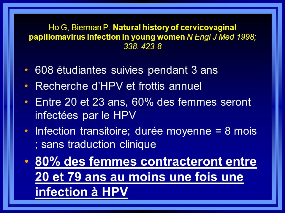 Ho G, Bierman P. Natural history of cervicovaginal papillomavirus infection in young women N Engl J Med 1998; 338: 423-8