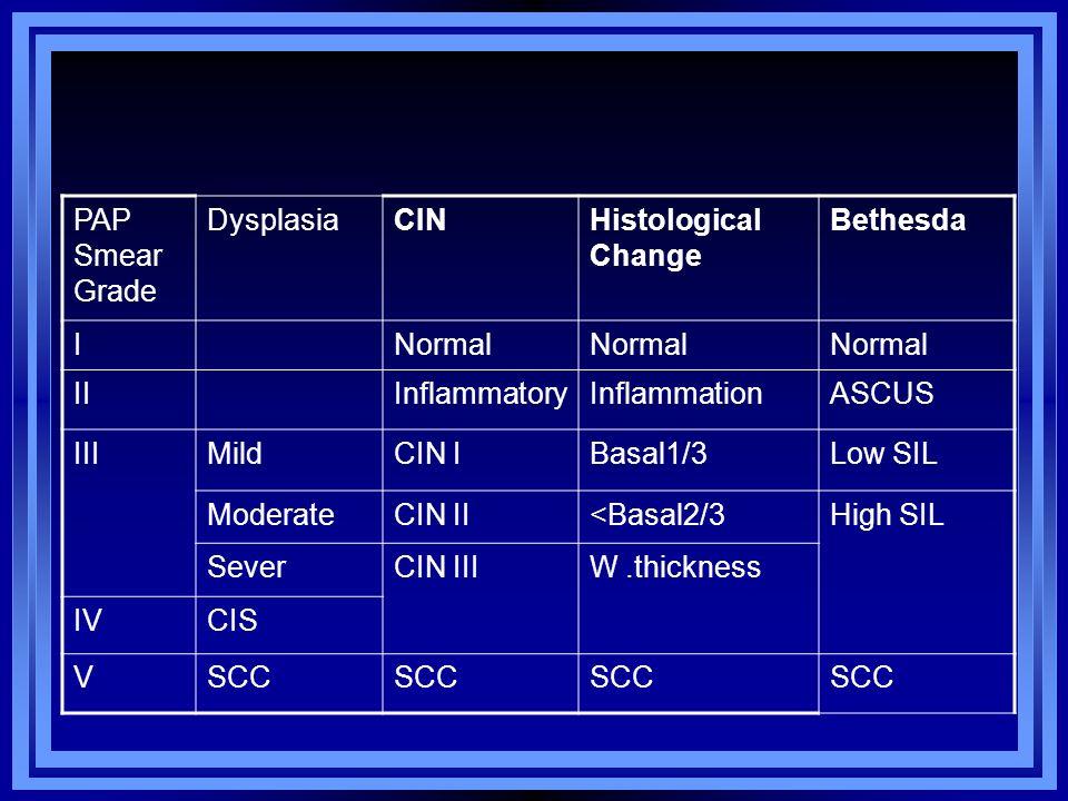 PAP Smear Grade Dysplasia CIN Histological Change Bethesda I Normal II