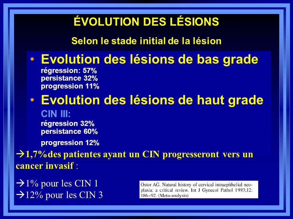 ÉVOLUTION DES LÉSIONS Selon le stade initial de la lésion