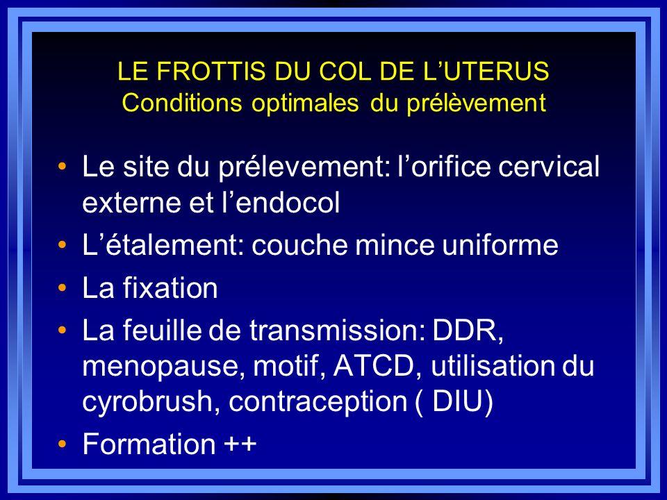 LE FROTTIS DU COL DE L'UTERUS Conditions optimales du prélèvement