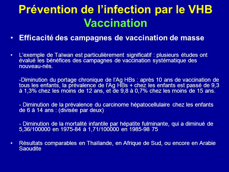Prévention de l'infection par le VHB Vaccination
