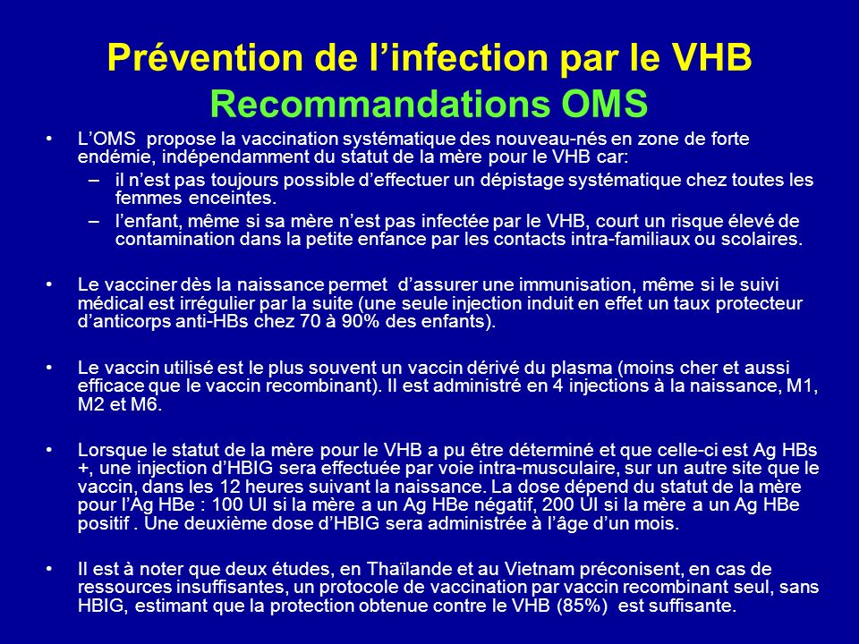 Prévention de l'infection par le VHB Recommandations OMS