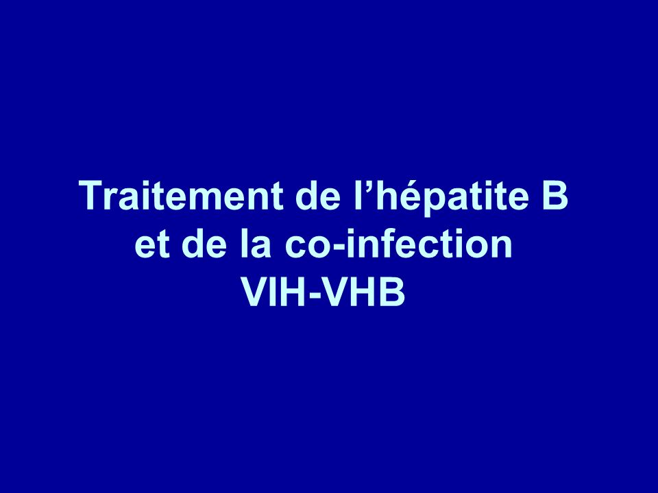 Traitement de l'hépatite B et de la co-infection VIH-VHB