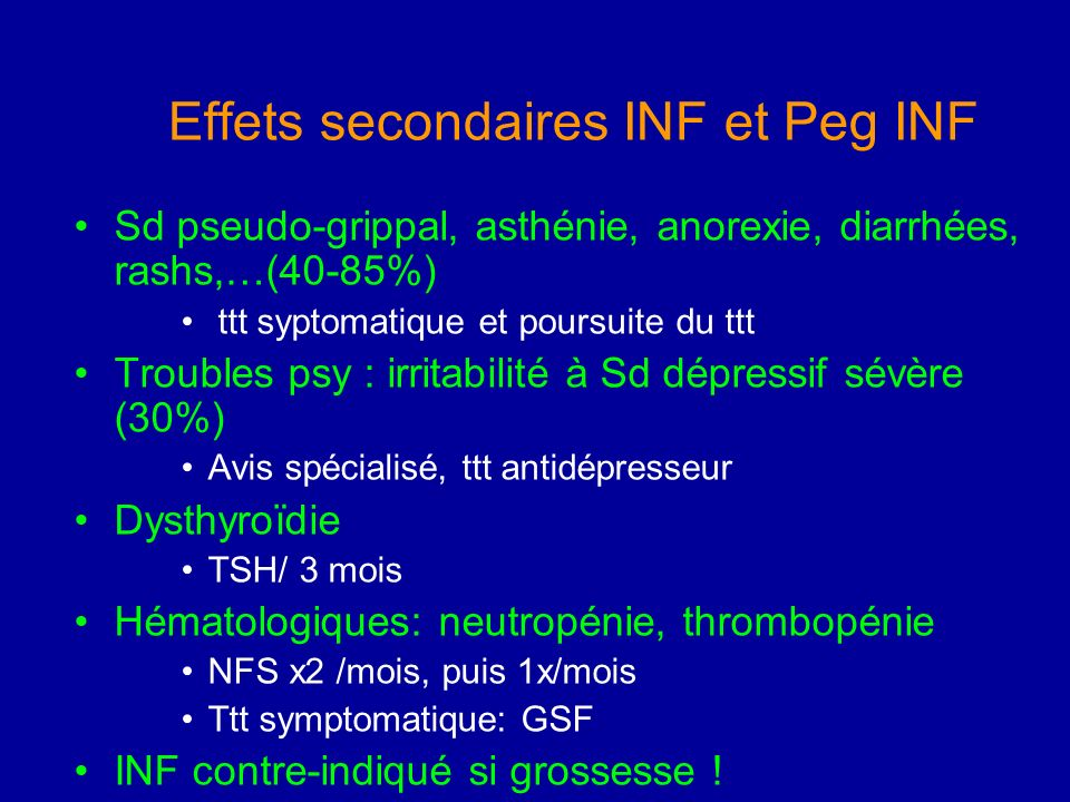 Effets secondaires INF et Peg INF