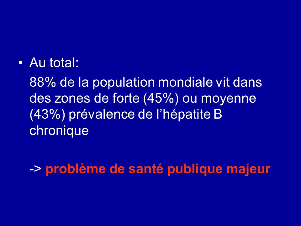 Au total: 88% de la population mondiale vit dans des zones de forte (45%) ou moyenne (43%) prévalence de l'hépatite B chronique.