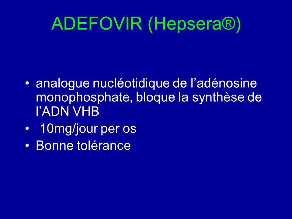 ADEFOVIR (Hepsera®) analogue nucléotidique de l'adénosine monophosphate, bloque la synthèse de l'ADN VHB.