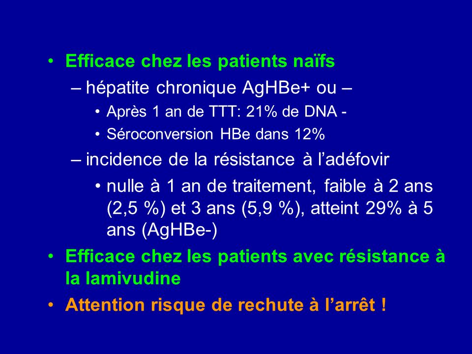 Efficace chez les patients naïfs hépatite chronique AgHBe+ ou –