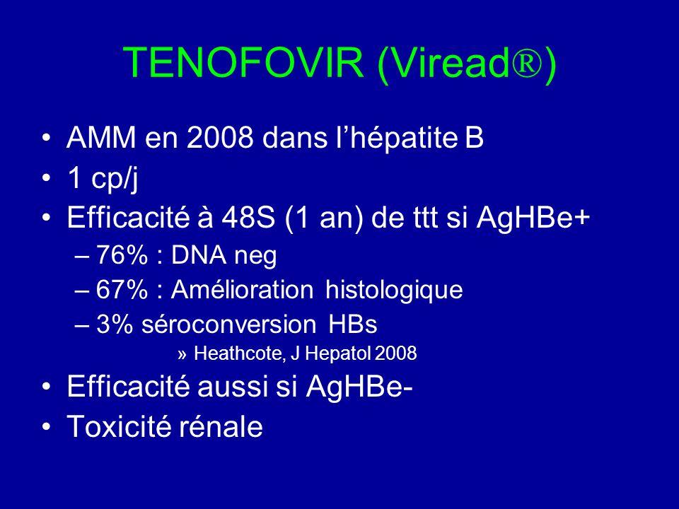 TENOFOVIR (Viread®) AMM en 2008 dans l'hépatite B 1 cp/j