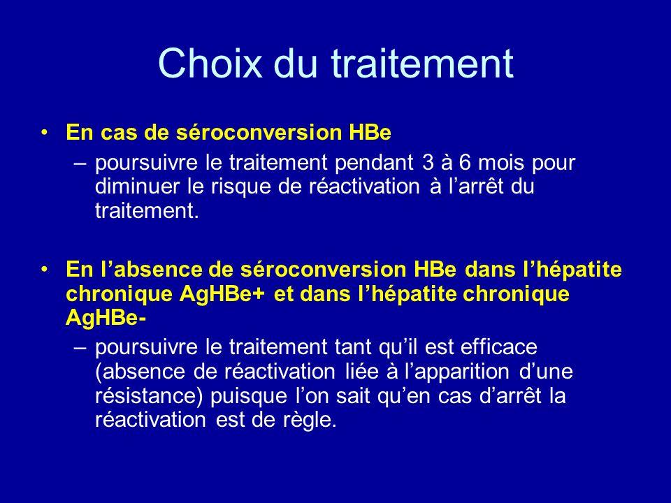 Choix du traitement En cas de séroconversion HBe
