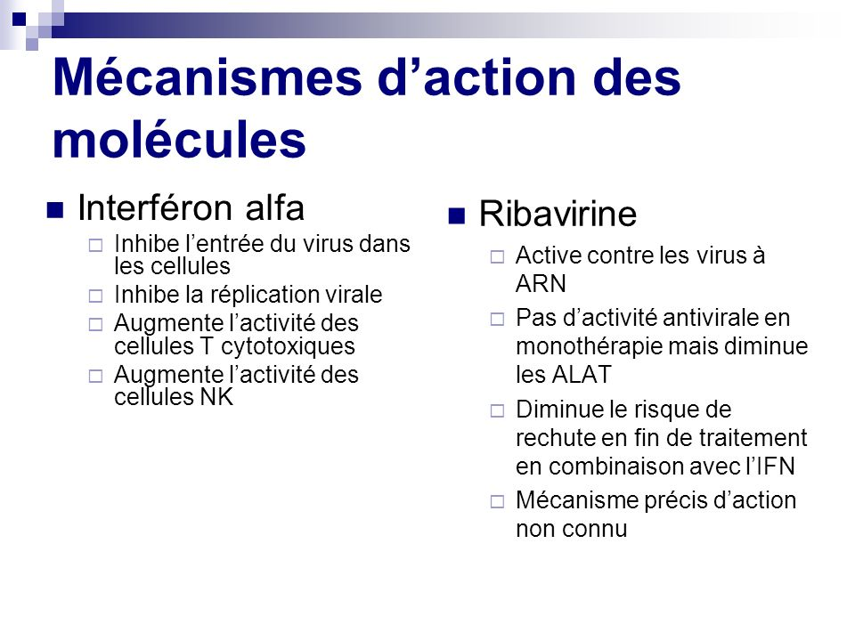 Mécanismes d'action des molécules