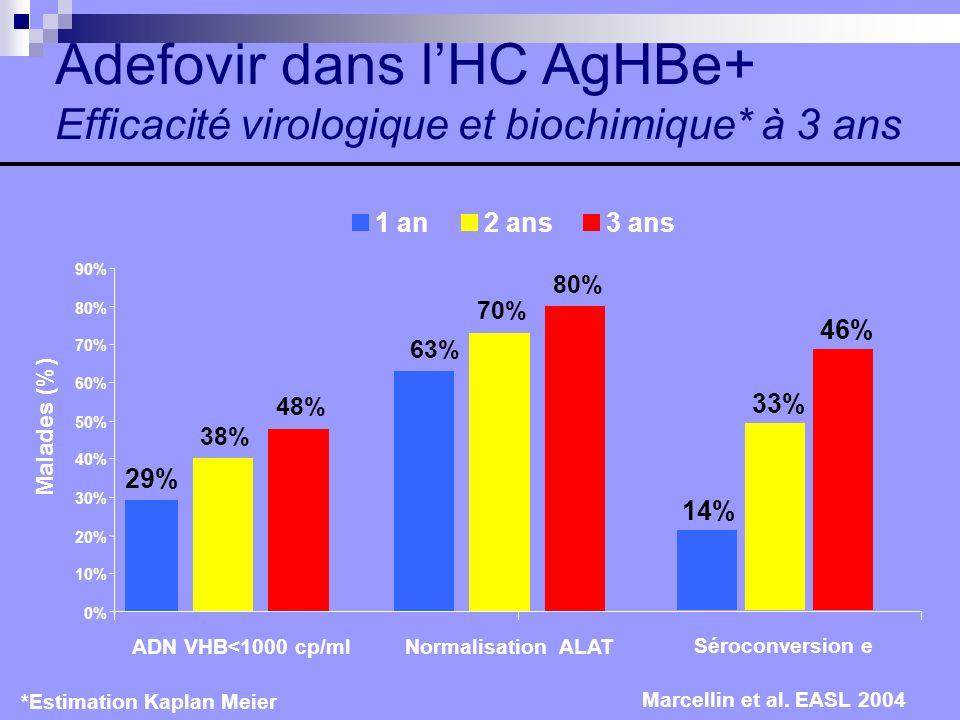 Adefovir dans l'HC AgHBe+ Efficacité virologique et biochimique