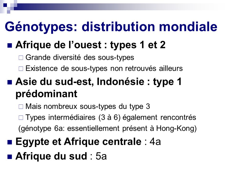 Génotypes: distribution mondiale