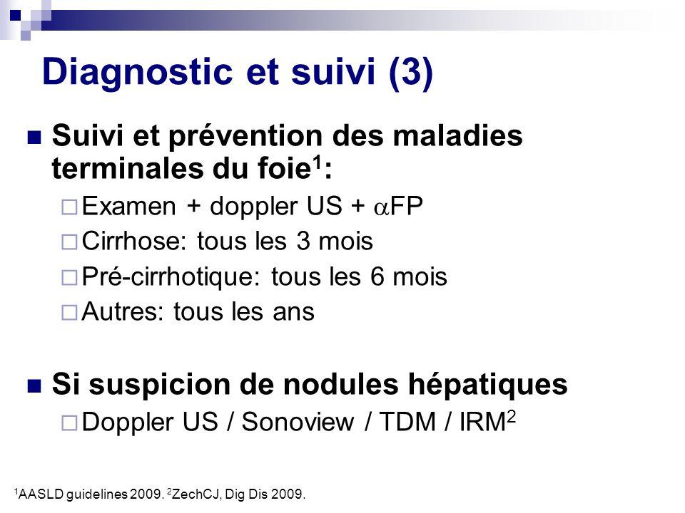 Diagnostic et suivi (3)Suivi et prévention des maladies terminales du foie1: Examen + doppler US + FP.