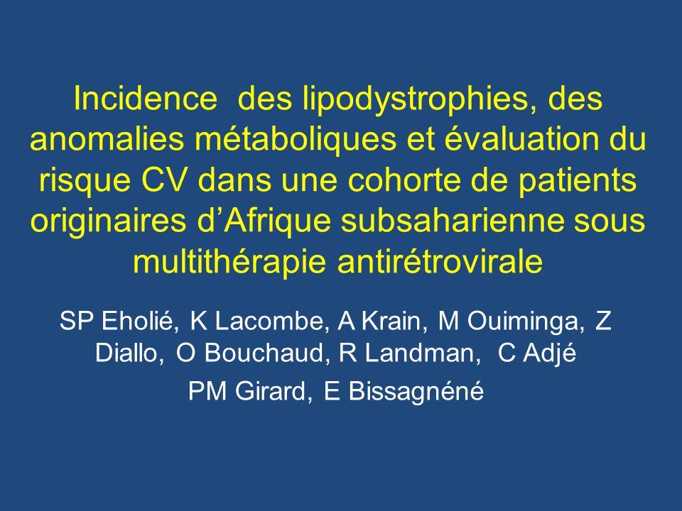 Incidence des lipodystrophies, des anomalies métaboliques et évaluation du risque CV dans une cohorte de patients originaires d'Afrique subsaharienne sous multithérapie antirétrovirale