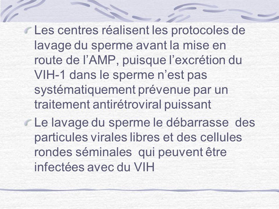Les centres réalisent les protocoles de lavage du sperme avant la mise en route de l'AMP, puisque l'excrétion du VIH-1 dans le sperme n'est pas systématiquement prévenue par un traitement antirétroviral puissant